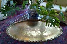 """Huge Heavy 46"""" Etched Brass Serving Tray Table Top or Oval Fireplace Cover 16lbs"""