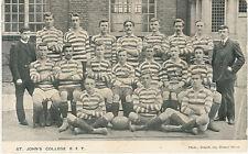 St John's  College RFT 1904-1905 vintage rugby postcard