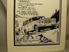 1963 Kaiser Jeep Wagoneer Auto Pen Ink Hand Drawn  Poster Automotive Museum