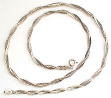 CA Spiral Herringbone 925 Silver Chain Necklace 49cm Italy Snake Double Plaited