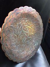 Vintage Persa Plata caligrafía islámica Placa de pared sobre el Cobre