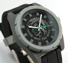 BRAND NEW DIESEL DZ1624 BLACK SILICONE STRAP QUARTZ ANALOG MEN'S WATCH