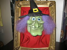 GEMMY Halloween Wall Hanging Witch Head Animated and Illuminated