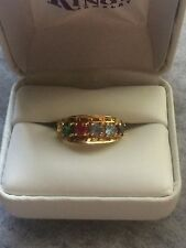 Beautiful LADIES 10K Yellow Gold Multi-Colored Stone MOTHERS Style Ring Sz 6