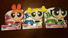3 brand new Powerpuff Girls 12 Inch Puff Out Plush Blossom, Bubbles, + Buttercup