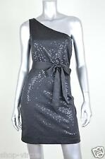 Max and Cleo New Black Sequin Belted One Shoulder Night Dress MSRP $138 Size 4