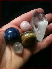 4 Crystal Ball Spheres Blue Sodalite  Rose Quartz  Tiger's Eye Hematite  Heart