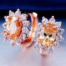 Nice WEDDING ROSE GOLD Plated CHAMPAGNE Cubic Zircon Classic Hoop Earrings