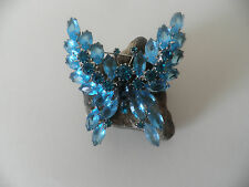 BEAUTIFUL Eisenberg Ice teal rhinestones& blue Crystals Butterfly Brooch signed