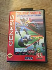 Triple Score: 3 Games in 1 Sega Genesis Cib Game With Manual Works SG2
