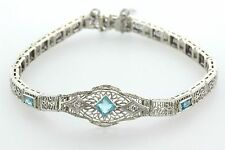 Estate Art Deco White Gold Blue Topaz & Diamond Milgrain Filgree Bracelet - 7""