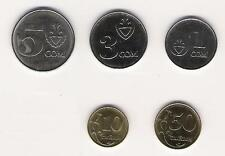 KYRGYZSTAN: 5 PIECE UNCIRCULATED COIN SET; 0.10 TO 5 SOM