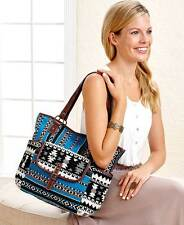 Women's Blue Aztec Fabric Tote Bag Pocketbook Handbag South Western Design
