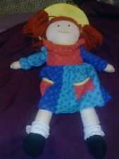 "Madeline Doll Plush Blue dress & Yellow Hat by Eden Measures 15"" 1994 toy kids"