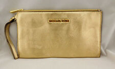 MICHAEL KORS BEDFORD Gold  Leather Clutch Wristlet Bag Msrp $98