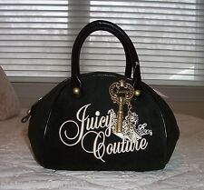 NWT Juicy Couture Crown & Key Terry Bowler Bag BLACK