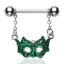 Green Masquerade Ball Mask Nipple Ring / Barbell