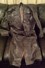 MILITARY MEN'S WORLD WAR 2, DUTCH OFFICER'S FULL LENGTH LEATHER COAT GREAT SHAPE