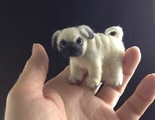 """OOAK Needle Felted Puppy Pug Dog 2"""" tall ~ by artist C.E Turner"""