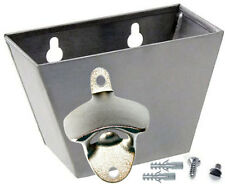 BEER BOTTLE CAP CATCHER & OPENER SET -Stainless Steel- Wall mount Screw & Anchor