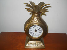 Vintage Brass Pineapple Mantle Desk Clock ~ Quartz~ Works Great~ Take A L@@K!