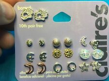 10 Pairs Of Claire's Girls Pierced Earrings HamsaHands Moons And Stars And Studs