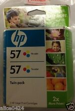 HP 57 TRI-COLOR TWIN PACK (TWO) INK JET CARTRIDGE FEB 2009 C9320FN NEW sealed