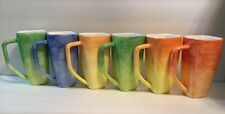 Set Of New 6  Starbucks Coffee Tea Mug Multi / Rainbow Color 16oz Italy - 2002