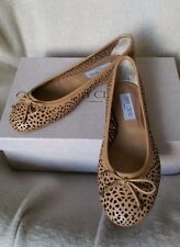 JIMMY CHOO Walsh Ballet Ballerina Flats Leather Lace Bow 36.5 6 Tan Proferated