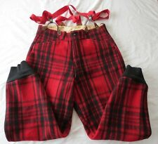 VTG SOO WOOL Men's Red Plaid Wool Hunting Shooting Pants Overalls Size Large 34