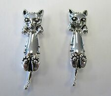 Cute Silver Plated Kitty Cat Kitten Pierced Earrings # 1475 Jacket Studs NEW