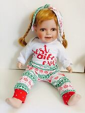 """23"""" Porcelain Baby Doll Realistic Life Size Reborn Red Hair Green Eyes"""