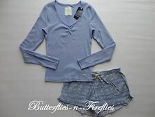 NWT GILLY HICKS for HOLLISTER by Abercrombie 2pc Pajama Set Tee & Shorts Blue L