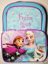 "DISNEY FROZEN SCHOOL BACKPACK 16"" OLAF ANNA ELSA MESSENGER blue LG BAG PRINCESS"