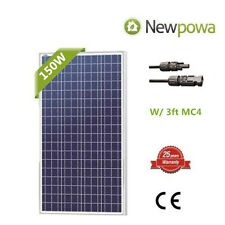 NewPowa High efficiency 150W Watts 12V Poly Solar Panel Module RV Marine 3FT MC4