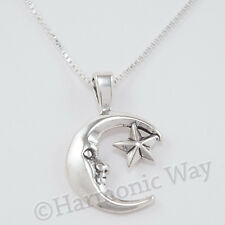 "Puffy 3D MAN in THE MOON STAR Celestial Pendant 925 Sterling Silver 18"" Necklace"