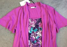 M&S PINK PATTERNED DOUBLE TOP WITH JOINT VEST & CARDIGAN IN PINK -SIZE 10 BNWT
