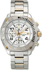 SEIKO SPORT CHRONOGRAPH ALARM DATE WHITE DIAL ST. STEEL MEN'S WATCH SNA619 NEW