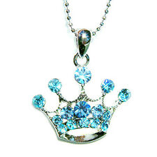 w Swarovski Crystal ~Blue Princess CROWN QUEEN hat Pendant Necklace Xmas Jewelry