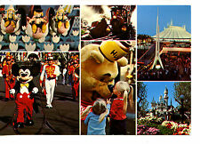 Multiple Views of Disneyland Amusement Theme Park-Mickey Mouse- Modern Postcard