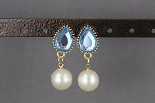 Lt Blue earrings faux pearl dangle faceted oval teardrop post stud door knocker