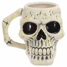 Ancient Weathered Look Gothic Skull Shaped Ceramic Mug Cup Gift