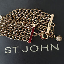 NEW ST JOHN KNIT DESIGNER BRACELET CHAIN GOLD COLOR