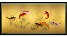Seven Lucky Koi Fish In Pond Picture Wall Art Home Decor Framed Canvas Print New