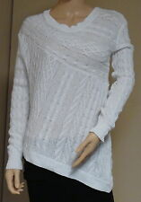 ACROBAT WOMEN'S SIZE S SMALL OFF WHITE PULL OVER ASSYMETRICAL SWEATER CABLE KNIT