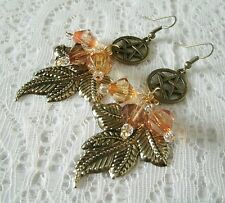 Pentacle Leaf Earrings, wiccan pagan wicca witch witchcraft goddess pentagram