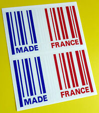 MADE IN FRANCE flag BARCODE sticker decal x2 CITROEN RENAULT PEUGEOT ALPINE