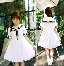 Japanese Sweet Lolita Preppy Style Sailor Collar Bow Stripe Dress Short Sleeve#A