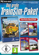 Le grand trainsim paquet pour pc | Microsoft train simulator + 4 x add-ons | nouveau |