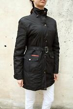PRADA Donna Cappotto In Nylon Nera sgv136 MAT 18w MADE IN ITALY Auth. con cintura XL Slim